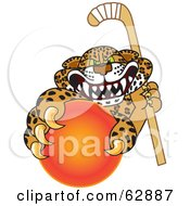 Cheetah Jaguar Or Leopard Character School Mascot Grabbing A Hockey Ball