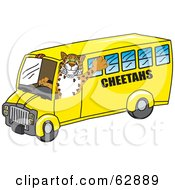 Royalty Free RF Clipart Illustration Of A Cheetah Character School Mascot Driving A Bus