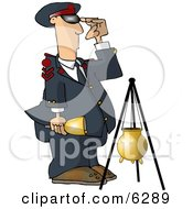 United States Salvation Army Attendant Saluting Beside A Donation Container Clipart Picture