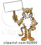 Cheetah Jaguar Or Leopard Character School Mascot Holding A Blank Sign