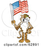 Royalty Free RF Clipart Illustration Of A Cheetah Jaguar Or Leopard Character School Mascot Holding An American Flag by Toons4Biz