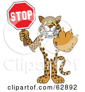 Cheetah Jaguar Or Leopard Character School Mascot Holding A Stop Sign