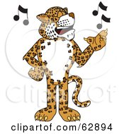 Royalty Free RF Clipart Illustration Of A Cheetah Jaguar Or Leopard Character School Mascot Singing by Toons4Biz