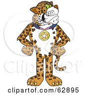 Royalty Free RF Clipart Illustration Of A Cheetah Jaguar Or Leopard Character School Mascot Wearing A Medal by Toons4Biz