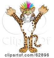 Cheetah Jaguar Or Leopard Character School Mascot With Colorful Hair