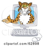 Royalty Free RF Clipart Illustration Of A Cheetah Jaguar Or Leopard Character School Mascot In A Computer