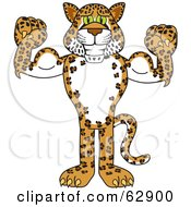 Cheetah Jaguar Or Leopard Character School Mascot Flexing