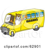 Jaguar Character School Mascot Driving A Bus