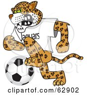 Jaguar Character School Mascot Playing Soccer