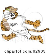 Royalty Free RF Clipart Illustration Of A Jaguar Character School Mascot Playing Football by Toons4Biz
