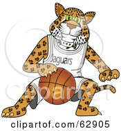 Jaguar Character School Mascot Playing Basketball
