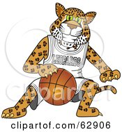 Royalty Free RF Clipart Illustration Of A Leopard Character School Mascot Playing Basketball by Toons4Biz