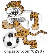 Royalty Free RF Clipart Illustration Of A Leopard Character School Mascot Playing Soccer by Toons4Biz