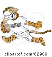 Royalty Free RF Clipart Illustration Of A Leopard Character School Mascot Playing Football by Toons4Biz