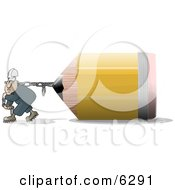 Man Pulling An Oversized Pencil Clipart Picture