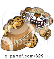 Royalty Free RF Clipart Illustration Of A Cheetah Jaguar Or Leopard Character School Mascot Grabbing A Football by Toons4Biz