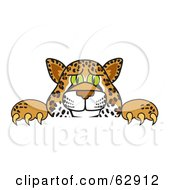 Royalty Free RF Clipart Illustration Of A Cheetah Jaguar Or Leopard Character School Mascot Looking Over A Surface
