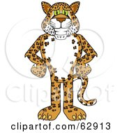 Royalty Free RF Clipart Illustration Of A Cheetah Jaguar Or Leopard Character School Mascot With His Hands On His Hips by Toons4Biz