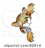Royalty Free RF Clipart Illustration Of A Cheetah Jaguar Or Leopard Character School Mascot Looking Around A Corner