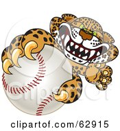 Royalty Free RF Clipart Illustration Of A Cheetah Jaguar Or Leopard Character School Mascot Grabbing A Baseball