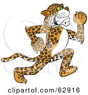 Royalty Free RF Clipart Illustration Of A Cheetah Jaguar Or Leopard Character School Mascot Running by Toons4Biz #COLLC62916-0015
