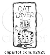 Royalty Free RF Clipart Illustration Of A Cute Kitty Cat In A Yarn Cat Lover Frame