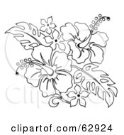 Royalty Free RF Clipart Illustration Of A Black And White Hibiscus Flower Bouquet