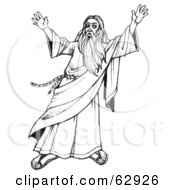 Royalty Free RF Clipart Illustration Of Moses In Black And White Holding Up His Arms by LoopyLand