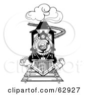 Royalty Free RF Clipart Illustration Of A Black And White Steam Train Rushing Forward On A Track