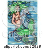 Green Haired Mermaid Holding The Reins To A Seahorse