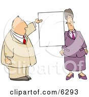 Business Couple With A Blank Sign Clipart Picture