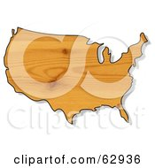Royalty Free RF Clipart Illustration Of A Pine Wood Textured USA Map