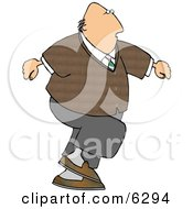 Overweight Bald Man Walking Clipart Picture