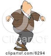 Overweight Bald Man Walking
