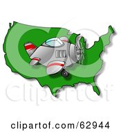 Royalty Free RF Clipart Illustration Of A Plane Flying Right Over A Green USA Map