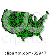 Royalty Free RF Clipart Illustration Of A Green And Black Binary USA Map