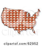 Royalty Free RF Clipart Illustration Of A Basketball Patterned USA Map