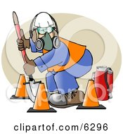 Worker Wearing Safety Gear While Digging With A Shovel Clipart Picture