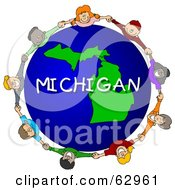 Royalty Free RF Clipart Illustration Of Children Holding Hands In A Circle Around A Michigan Globe by djart