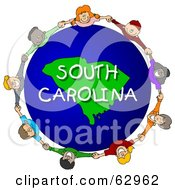 Royalty Free RF Clipart Illustration Of Children Holding Hands In A Circle Around A South Carolina Globe by djart