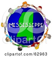 Royalty Free RF Clipart Illustration Of Children Holding Hands In A Circle Around A Mississippi Globe