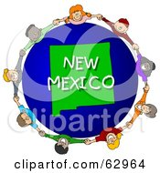 Royalty Free RF Clipart Illustration Of Children Holding Hands In A Circle Around A New Mexico Globe
