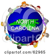 Royalty Free RF Clipart Illustration Of Children Holding Hands In A Circle Around A North Carolina Globe