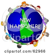 Royalty Free RF Clipart Illustration Of Children Holding Hands In A Circle Around A New Hampshire Globe by djart