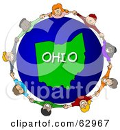 Royalty Free RF Clipart Illustration Of Children Holding Hands In A Circle Around An Ohio Globe by djart