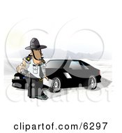 State Trooper Standing Beside A Ford Mustang Car Clipart Picture