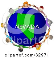 Royalty Free RF Clipart Illustration Of Children Holding Hands In A Circle Around A Nevada Globe by djart