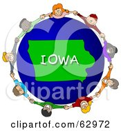 Royalty Free RF Clipart Illustration Of Children Holding Hands In A Circle Around An Iowa Globe