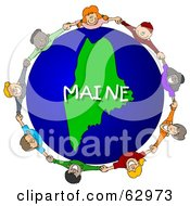 Royalty Free RF Clipart Illustration Of Children Holding Hands In A Circle Around A Maine Globe by djart