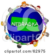 Royalty Free RF Clipart Illustration Of Children Holding Hands In A Circle Around A Nebraska Globe